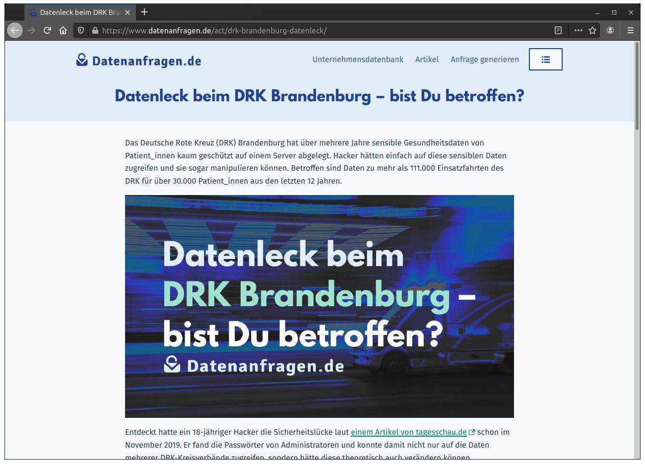 Mit einer Act-Seite informieren wir Betroffene eines Datenlecks beim DRK Brandenburg