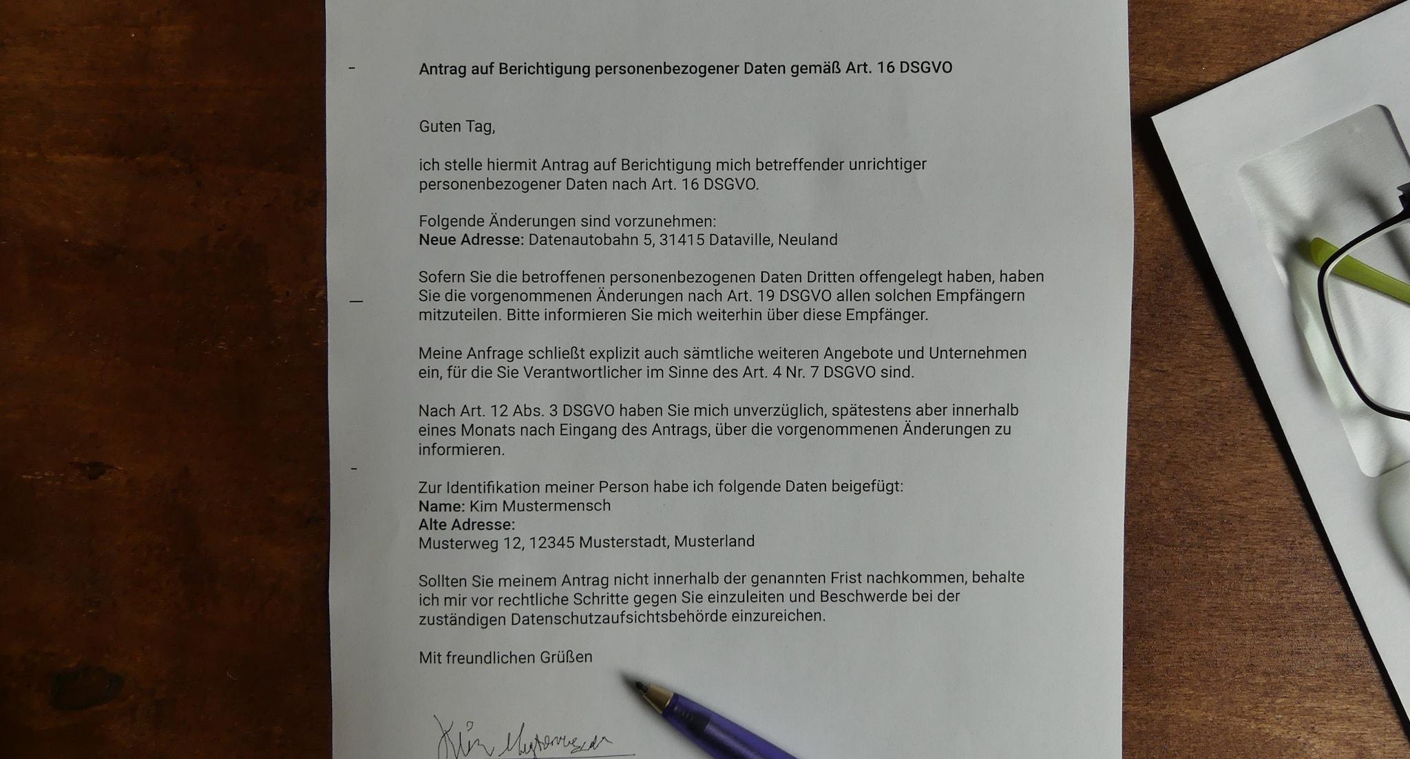 Musterbrief für Anträge auf Berichtigung nach Art. 16 DSGVO