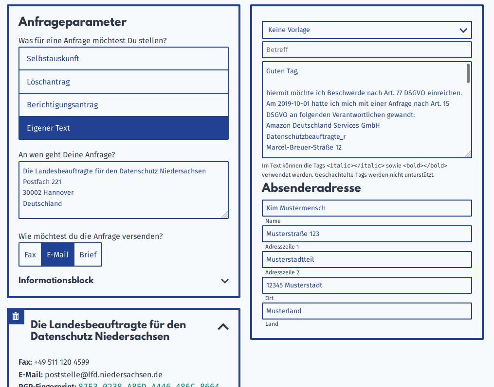 Screenshot des Anfragengenerators von Datenanfragen.de. Es wird eine Beschwerde an die Landesbeauftragte für den Datenschutz Niedersachsen über die Amazon Deutschland Services GmbH vorbereitet.